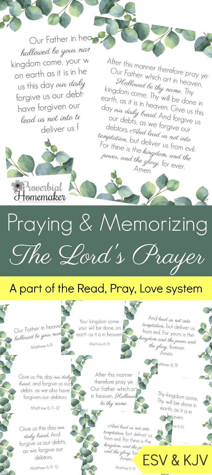 Memorize the Lord's Prayer - then pray the Lord's Prayer over your family! These beautiful scripture cards, art prints, and prayer/teaching guides come in ESV and KJV, and can be used alone or as a part of the Read Pray Love system at Proverbial Homemaker. via @TaunaM