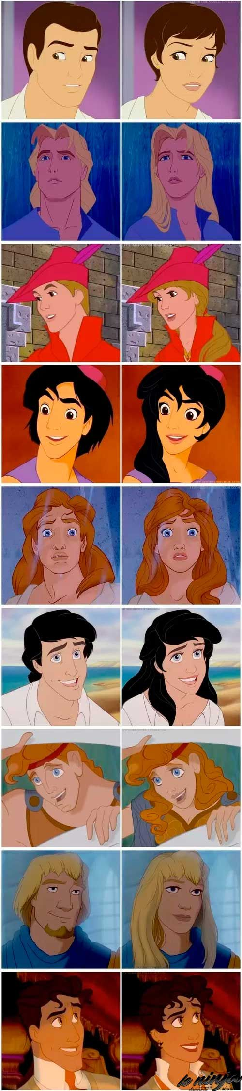 Disney Princes if they were Princesses