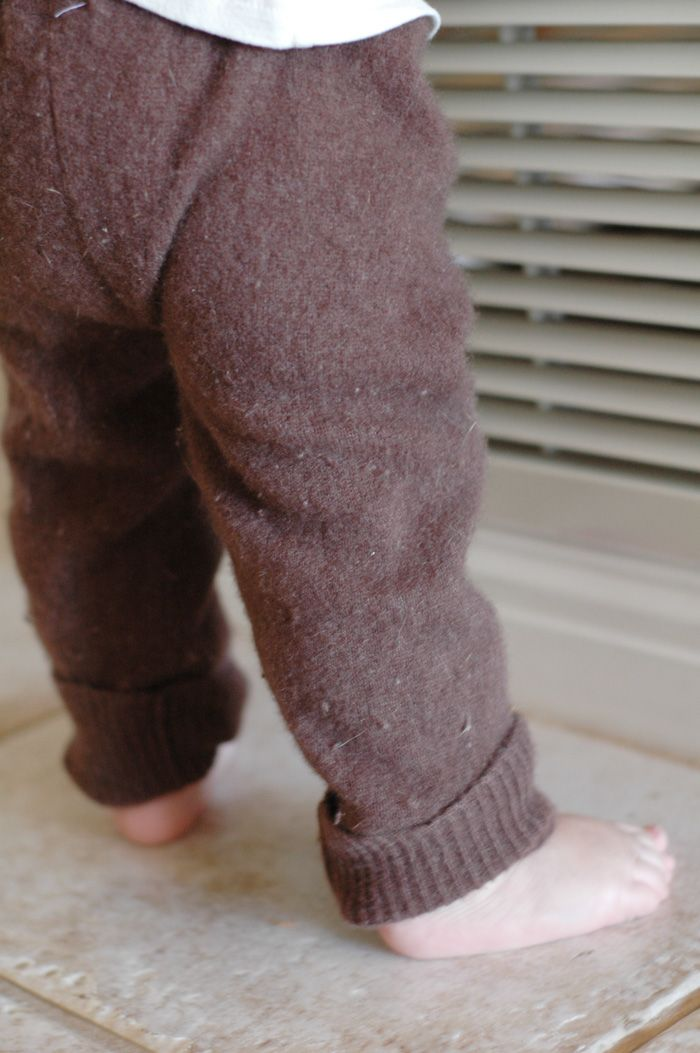 Use the arms of an old sweater to make baby and toddler friendly leggings. Great way to use them up when they get out of shape from wear.