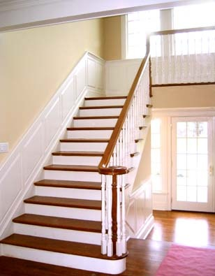 love the staircase, trim, and wall color