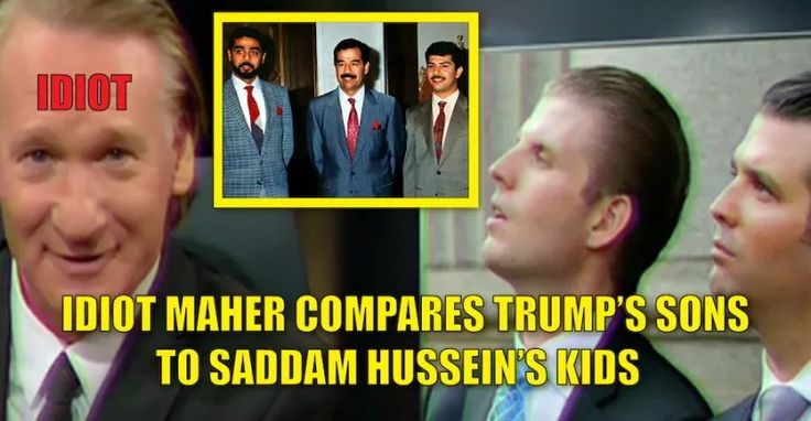 VIDEO : Idiot Liberal Bill Maher Compares Don Jr and Eric Trump to Saddam Hussein's Sons (10/1/16)