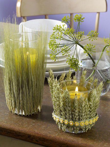 glass candle holders harvest season decor wheat barley ears