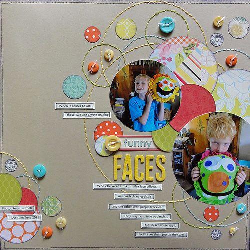 great layout: Scrapbook Ideas, Circles Scrapbook, Stitches Circles, Scrapbook Inspiration, Circlepunch Handstitch, Funny Faces, Scrapbook Layout, Hands Stitches, Paper Crafts