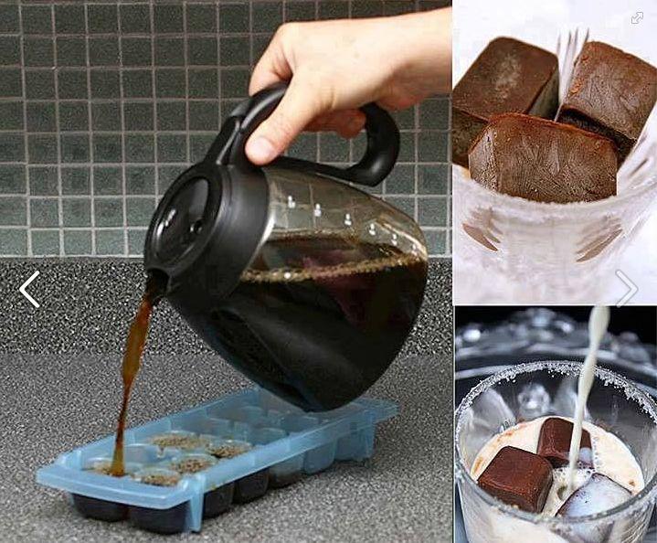 gefrorener Kaffee um ein kühles Eiskaffe zu machen :)