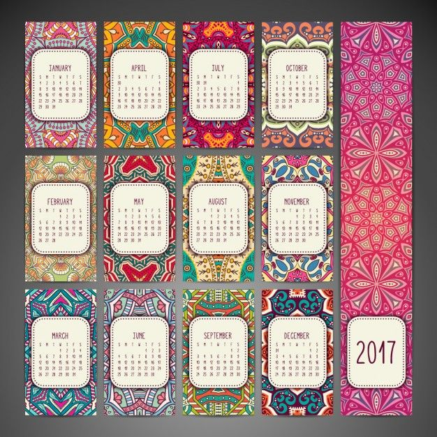 Diseño de calendario de estilo boho Vector Gratis