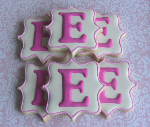 One Dozen Elegant Monogram Decorated Sugar by DolceDesserts...perfect for tea time.