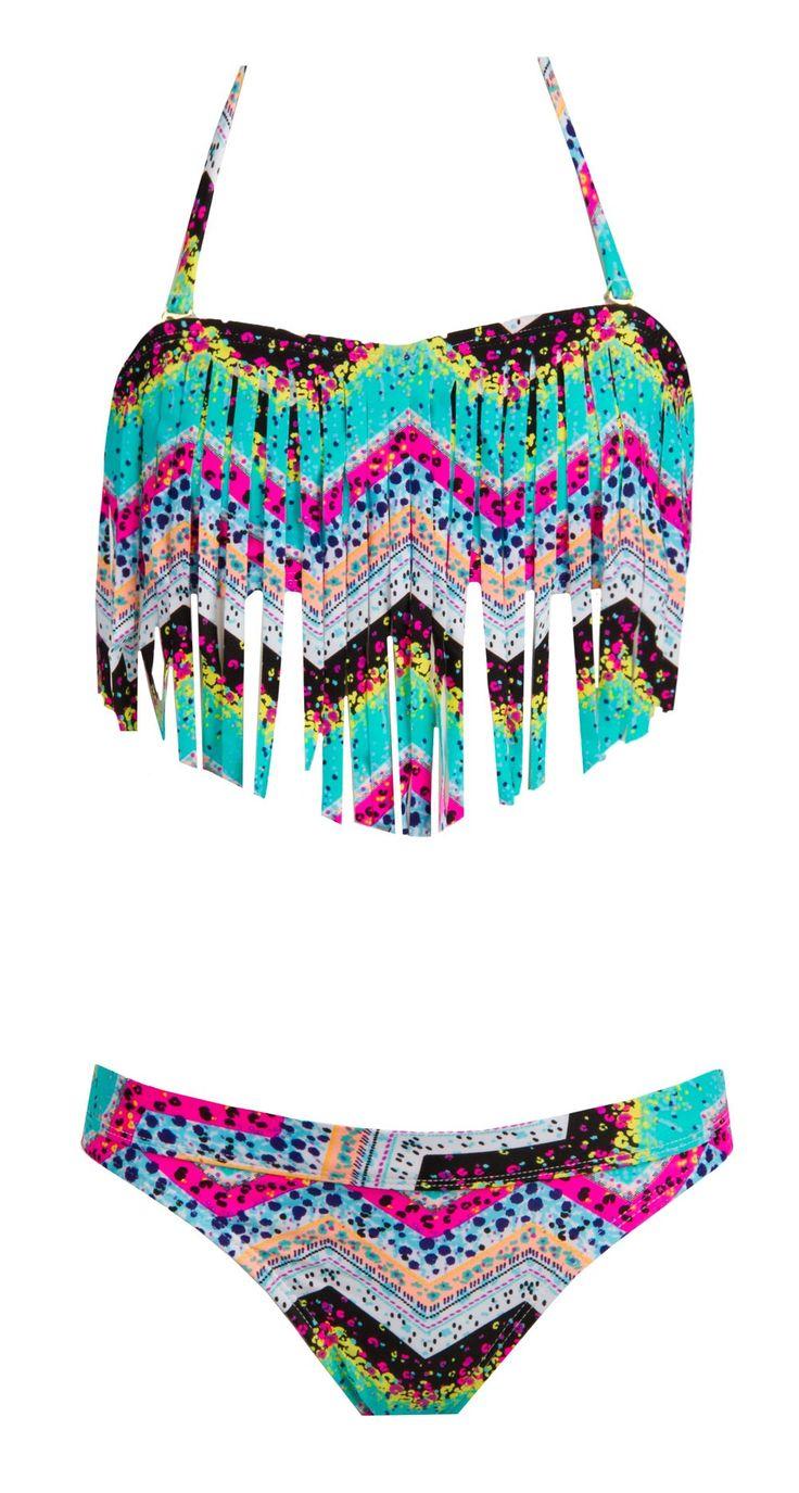 Roxy Girl // Fringe Bandeau Sea Hippie Two-Piece Bikini Set @Katie Hrubec Hrubec Hrubec Hrubec McCardle Burton