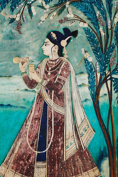 Beautiful turquoise and gold murals illustrating the Ragmala and Ras Lila stories lining the walls of the Chitrashala, built by Rao Umed Singh in the 18th century, located inside the Garh Palace of Bundi