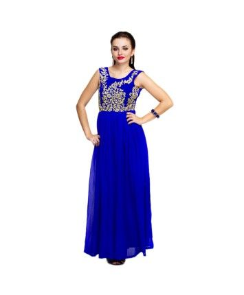 Deep Blue Zari Embroidered Georgette  #ohnineone
