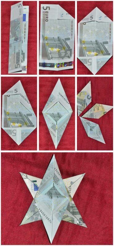 Step-by-Step Anleitung: Geldgeschenke basteln für Weihnachten: Engel, Stern und Kerze aus Geldscheinen falten -- Schritt 2