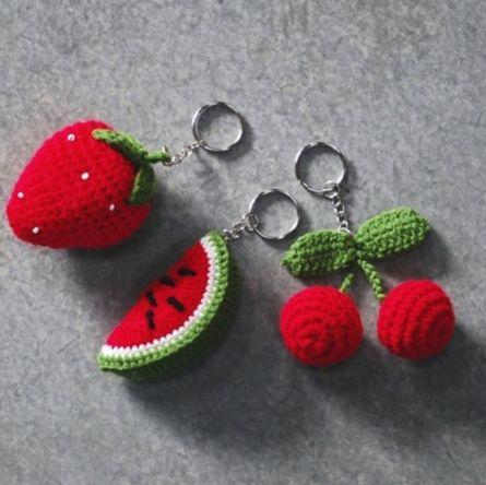 Crochet Fruit Keychain