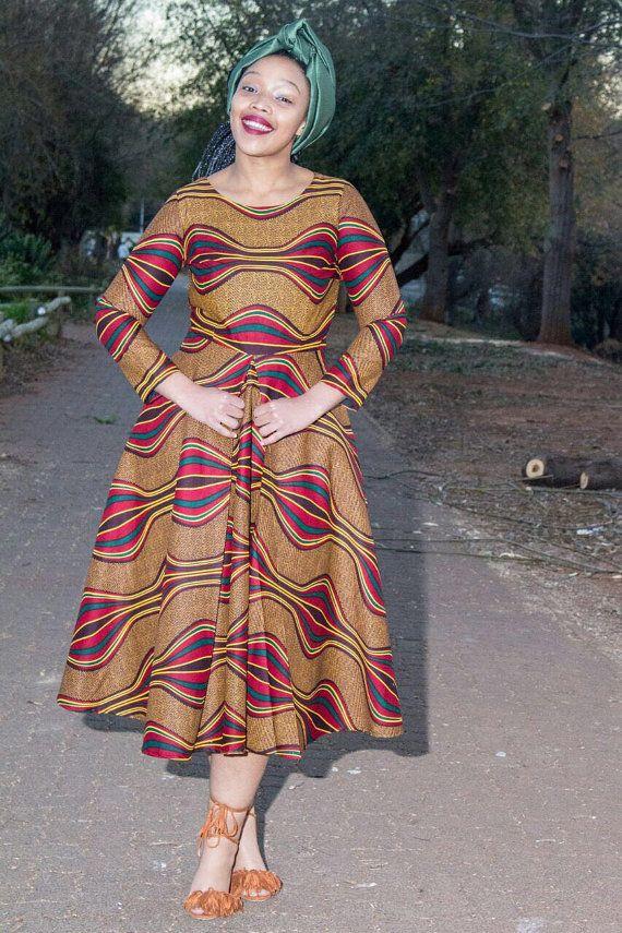 Brown African print dressAnkara African by EssieAfricanPrint More