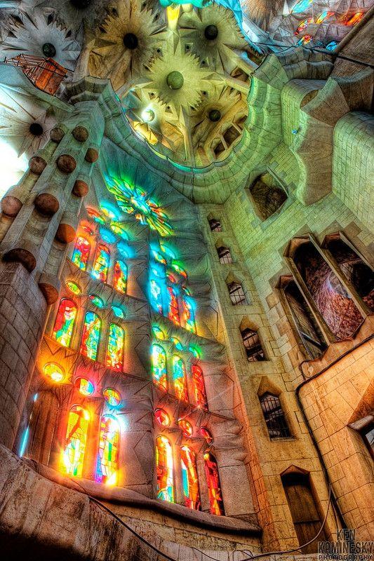 Sagrada Família, Barcelona, Spain...I think this is a must see!!!!!Barcelonaspain, Sagradafamilia, Catholic Churches, Catalonia Spain, Roman Catholic, Barcelona Barcelona, Barcelona Spain, Holy Family, Stained Glasses