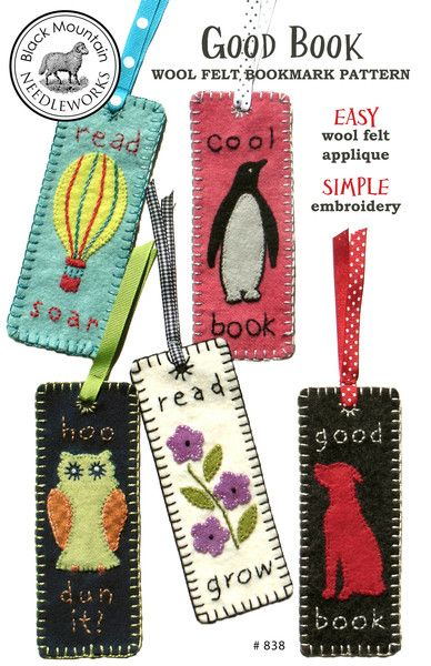 Good Book -- wool felt bookmark pattern by Black Mountain Needleworks