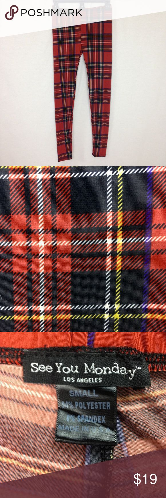 See You Monday Women's Small Red Plaid Leggings See You Monday Women's Small Punk Rock Red Plaid Holiday Christmas Tartan Leggings  Soft silky smooth feel Great for yoga or lounge pants    Waist 25 26 27 28 inches Inseam 28 inches Rise 8  inches  94% polyester 6% spandex   binF1 See You Monday Pants Leggings