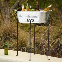 Personalized beverage tub for your husband's 10th anniversary present and it fits with the traditional theme of tin! Lots more ideas for your husband http://www.anniversary-gifts-by-year.com/ten-year-wedding-anniversary-gift.html