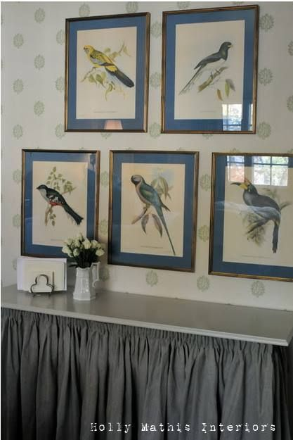 Love these bird prints!  I'm thinking I could lay prints on top of the matting to save the cost of the cutting and achieve the look.  The collection of 5 is so nice.  Hmmm....over the couch?
