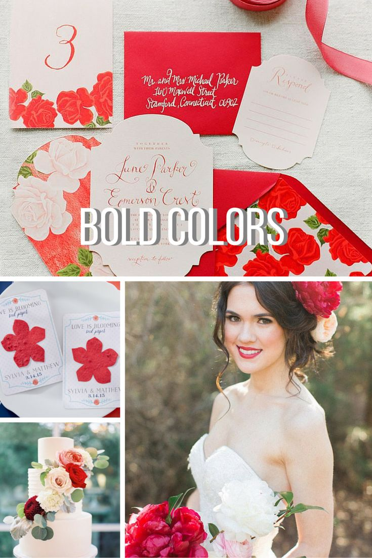 If you're more of a bold bride, a few vivid brights from Pantone's Spring 2016 Fashion Color Report can serve as inspiration! A high energy red, like Pantone's Fiesta, is a strong and beautiful color to mix into everything from your invitation suite to the flowers. | 7 of the Hottest Spring Wedding Trends for 2016 | @kateaspen