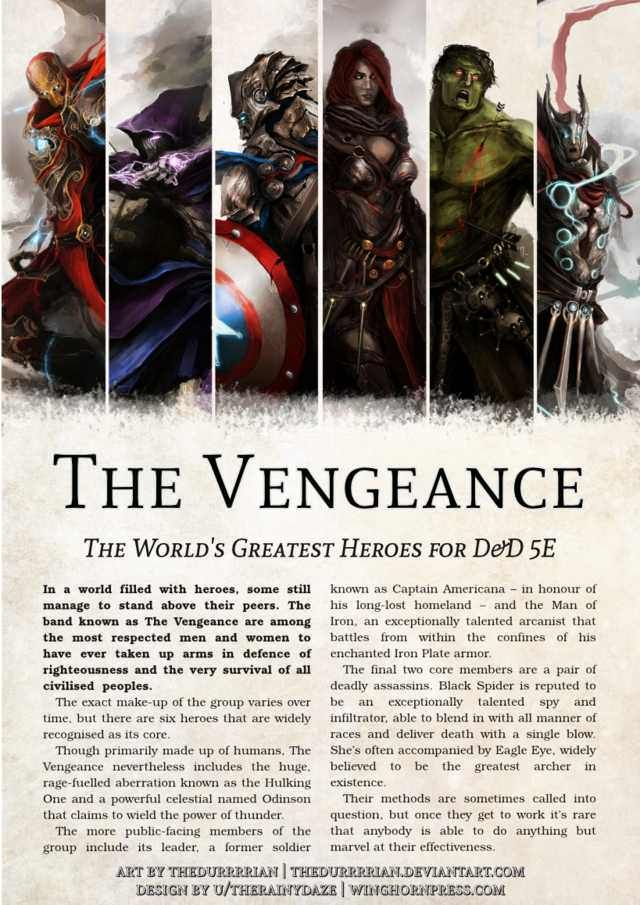 The Vengeance - Avengers for D&D 5E in 2019 | Dnd Important People