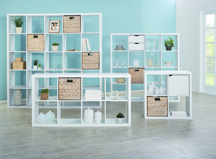 The Matrix storage shelves in white and Cancun baskets in whitewash create a fresh look for spring.