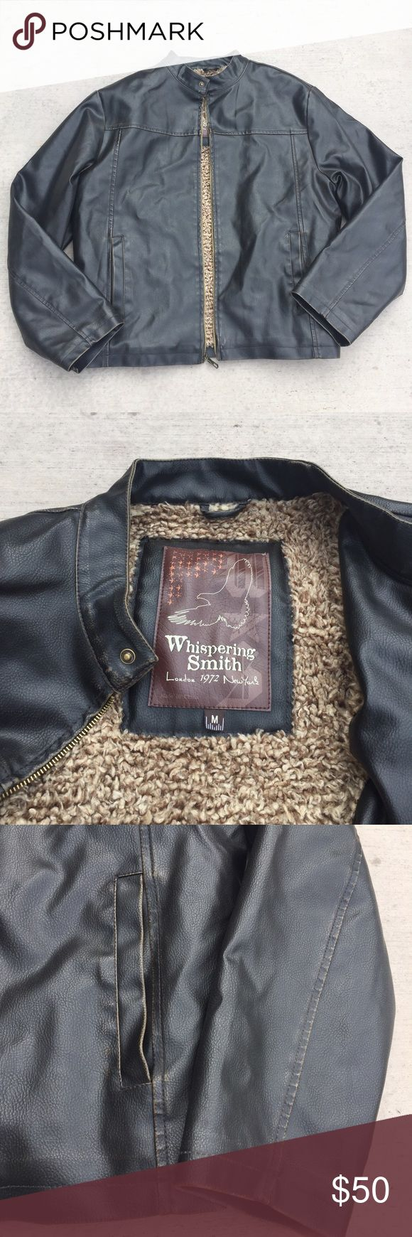 """Whispering Smith Faux Leather Jacket • 100% polyester with PVC coating • Zip up and button closure • Faux shearling lining • Two pockets at front and one inside pocket • Length approx 26"""" • Color fading along the seams throughout the jacket and pockets from wear Whispering Smith Jackets & Coats"""