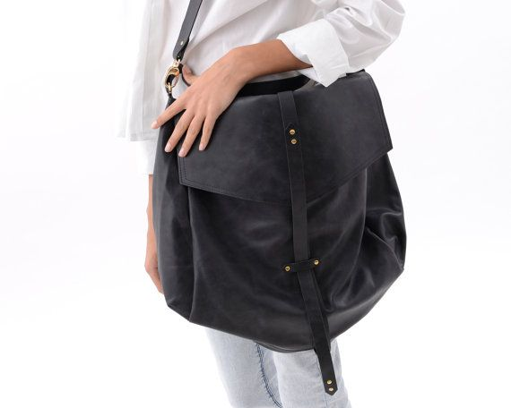 Oversized Black Leather Hobo Bag for Women, Large Handmade Slouchy  Oversized Purse, Gold Hardware, Crossbody, Carryall Handbag