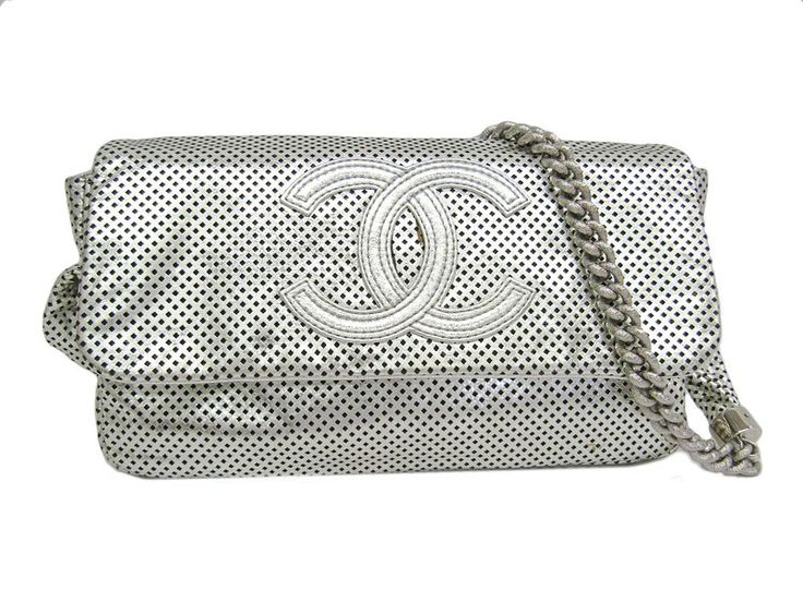 #CHANEL Chain Shoulder Bag Punching Leather Calfskin Silver (BF302717) Authenticity guaranteed, free shipping worldwide & 14 days return policy. Shop more #preloved brand items at #eLADY: http://global.elady.com