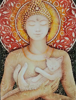 Buddha's Teacher    Is your cat or dog your spiritual teacher?  I had a cat, Orion, who was my guru. When it happens to you, there is no doubt.    Evokes: Joy, Humor and Love