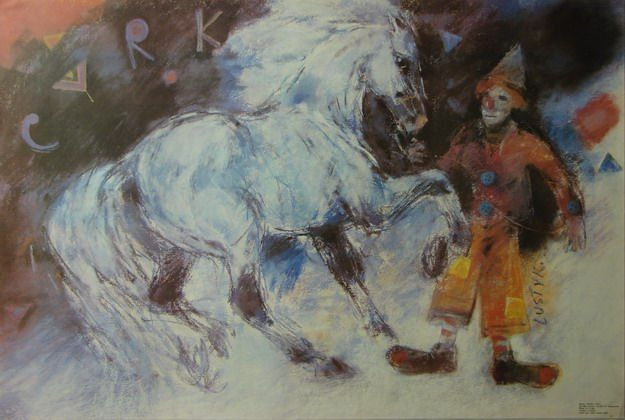 Bogusław Lustyk 'Circus Clown and Horse' - Polish Poster, 1989