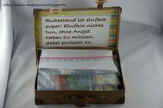 Der Koffer geschnitten mit der Cameo (Datei von Margot Bruderer), teilweise embosst..       Den Spruch finde ich sooooo genial.....    ...