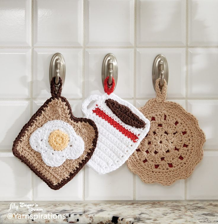 Pot Holder Dinner Trio - Free Crochet Pattern - (yarnspirations)