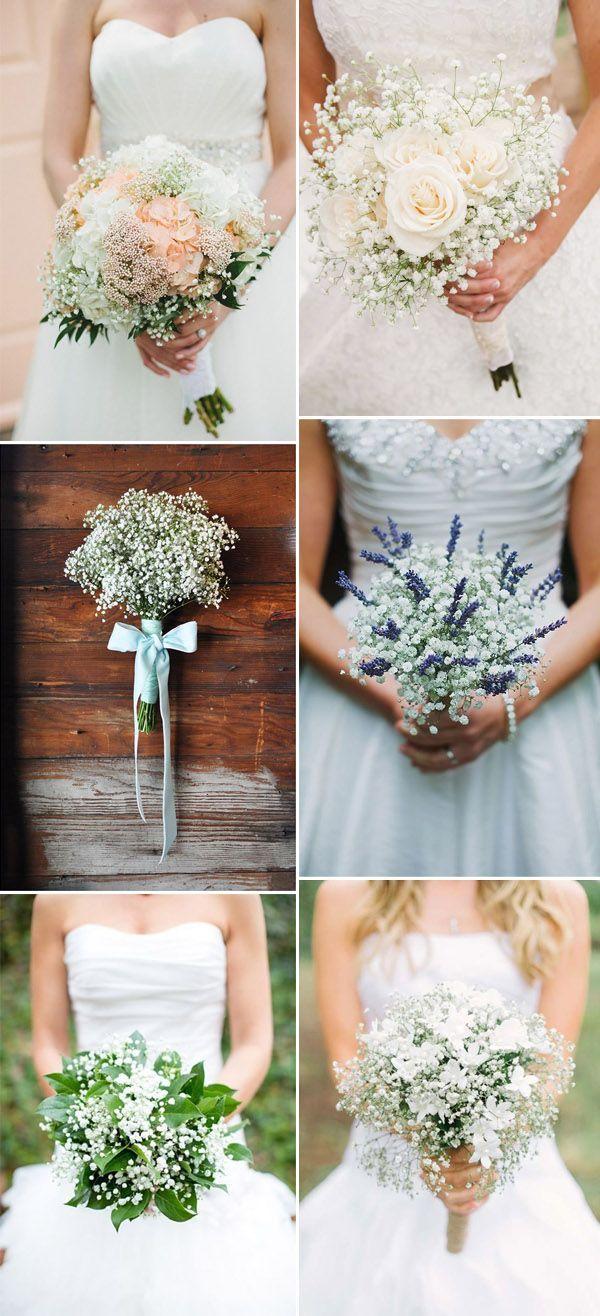 elegant baby's breath bridal bouquets ideas