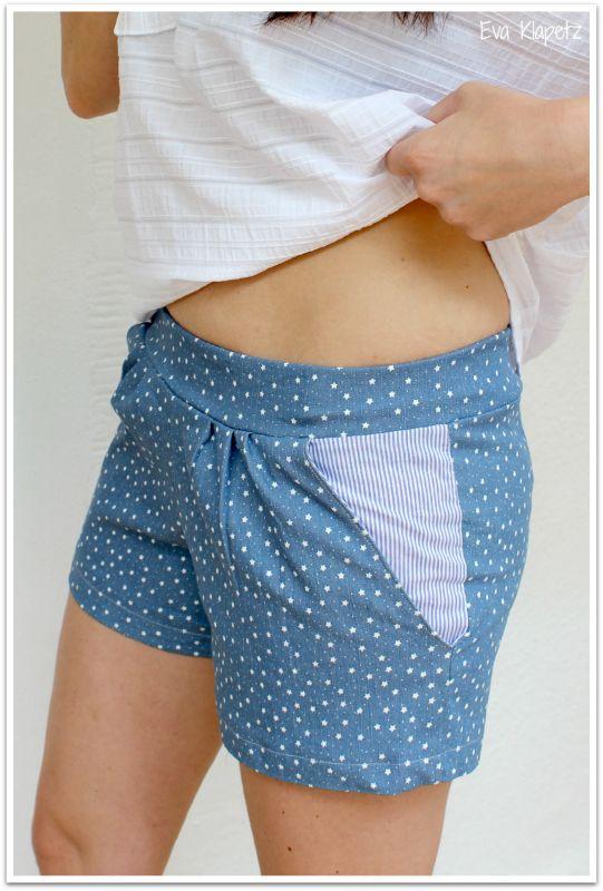 Hier  schrieb ich neulich, dass ich großen Respekt vorm Jeans-Shorts-Nähen habe.   Ein professioneller Hosenbund mit Knopf und Reißverschlu...