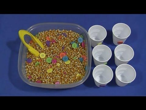 Button and Popcorn Seed Sensory Tub