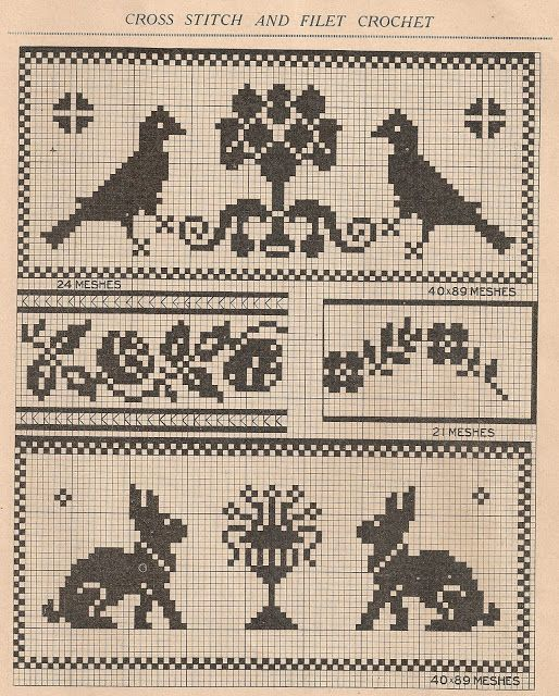FREE cross stitch or filet crochet patterns -- Easter bunnies!