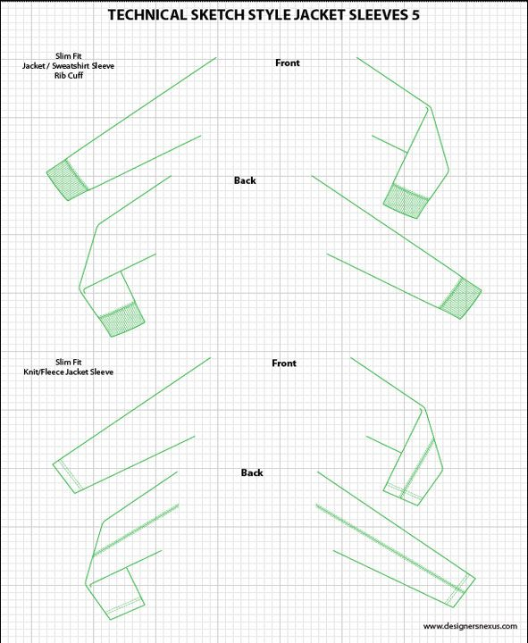 Mens Illustrator Flat Fashion Sketch Templates - Jacket Sleeves - 1045+ mix & match Menswear design templates only $39.95! #menswear #mensfashion #flatsketches #fashionflats #fashionsketches #fashiontemplates #fashionCADs