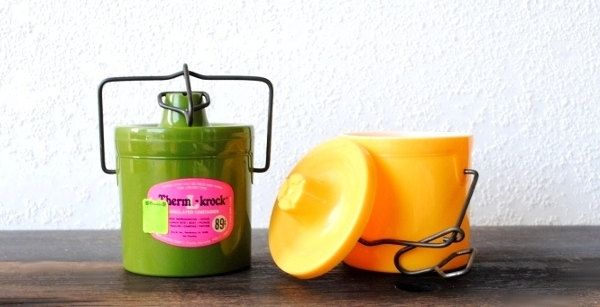 Retro Kitchen Food Storage Container Crocks, Plastic Bail Wire Yellow & Avocado Green by vintageeclecticity on Etsy https://www.etsy.com/listing/111201176/retro-kitchen-food-storage-container