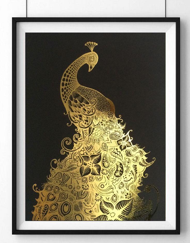 Gold leaf peacock print   hardtofind.