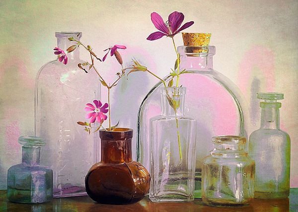 """Bottles on the Bureau"" ...enhanced photographic print..."
