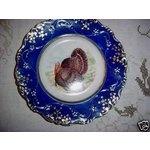 FLOW BLUE-Wheeling LaBelle China TURKEY PLATE-1890's