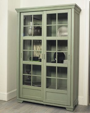 "Jonathan David Library Cabinet with Sliding Doors  $859.00	  I love the idea of using a curio cabinet for a food pantry instead of dishes or display items. If you're looking for some extra storage in your kitchen, this is a great way to get it. 83"" H x 54"" W x 21"" D  