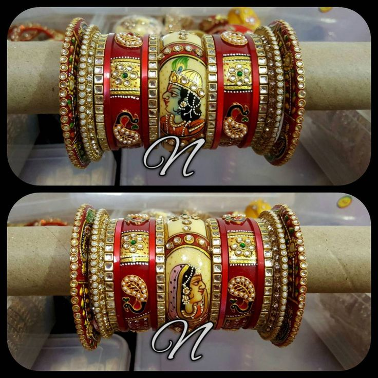 Royal Rajwadi Bridal Chura Material: Lac /Plastic/boor (like lac) Work: Stone, Kundan, Latkhan, moti,Hand painted. Price: 4550/- +$ extra Size - 2.4, 2.6,2.8 Dispatch time: 15 days Total bangles: 15×2 Contact us on:8830934265