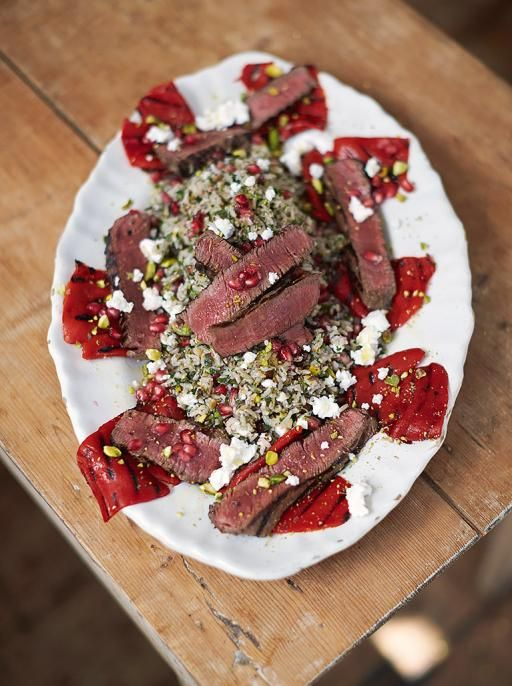 Juicy Griddled Steak from the new Everyday Super Food cook book by Jamie Oliver. Proof that you can still enjoy steak and stay healthy.