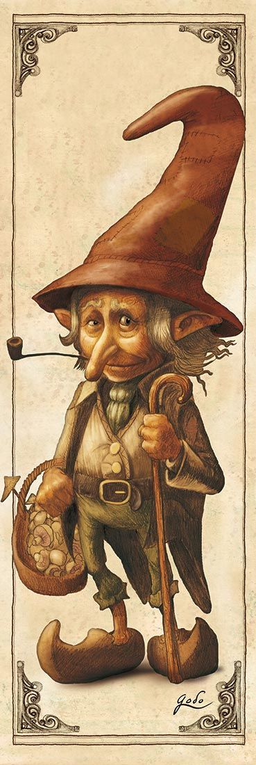 Elves Faeries Gnomes:  #Gnome with mushrooms  (Lutin), illustration by godo.