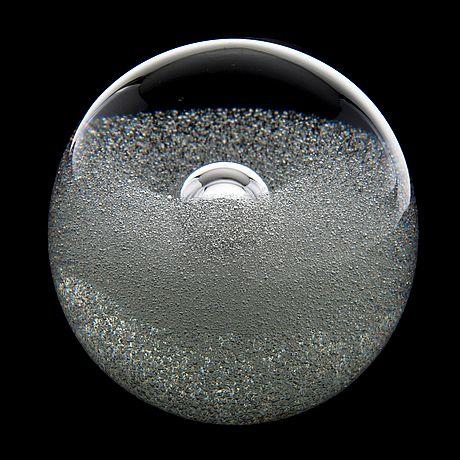 "TIMO SARPANEVA - Art glass sculpture ""Claritas utupallo"" (Claritas misty-ball) h. 10 cm for Iittala 1985, Finland."