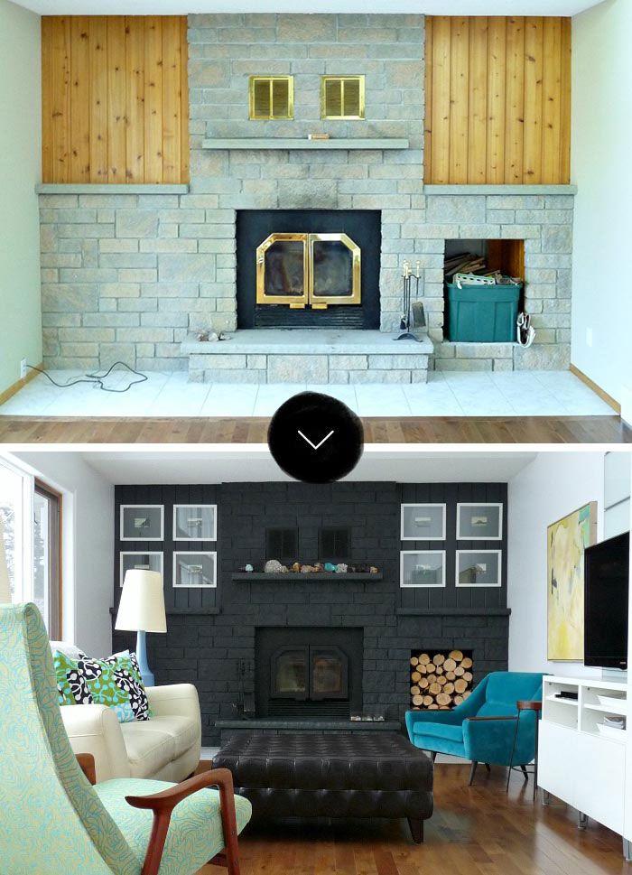 A Bold, Black Fireplace Makeover Via Designsponge