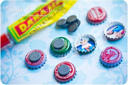 Bottle cap photo frames ~ can make magnets or bulletin board pins.
