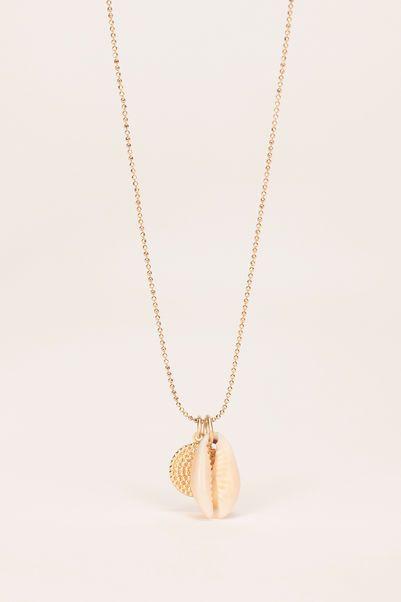 Collier laiton doré médaillon rond et coquillage Paloma 1