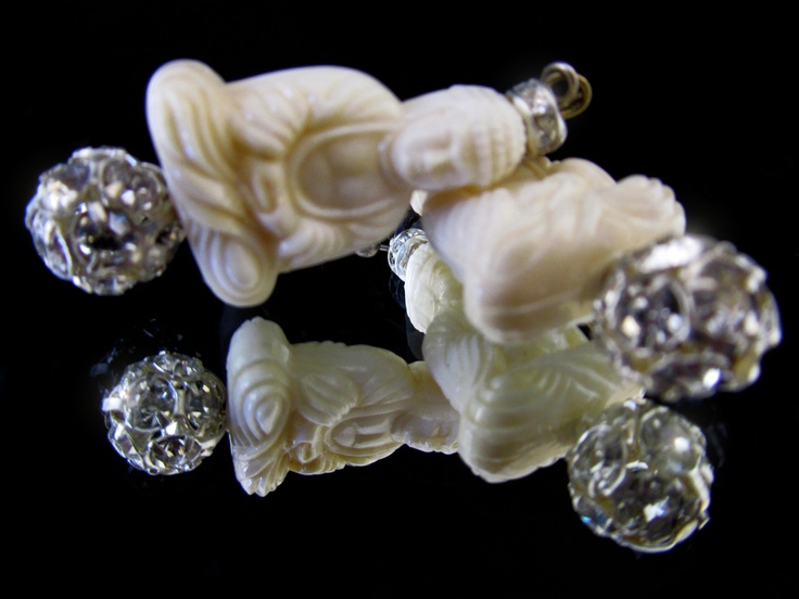White Buddha's earrings