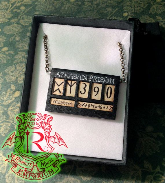 This necklace is a unique handcrafted item.  Inspired by the plate of Azkaban Sirius Black as seen in the poster Have you seen this wizard? This